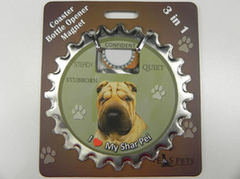 Shar Pei dog coaster magnet bottle opener Bottle Ninjas magnetic - $9.46