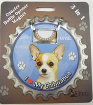 Chihuahua (tan) dog coaster magnet bottle opener Bottle Ninjas magnetic - $9.46