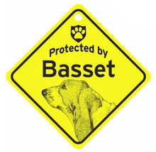 Protected by Basset Hound  Dog Car Window Sign - $4.75