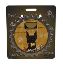 Miniature Pinscher dog coaster magnet bottle opener Bottle Ninjas magnetic - $9.46