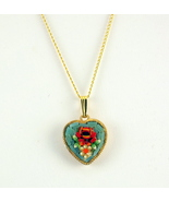 Vintage Micro Mosaic floral heart necklace gold... - $22.00