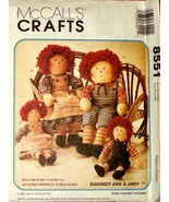 McCall's 8551 RAGGEDY ANN & ANDY Homespun Dolls OOP - $19.99
