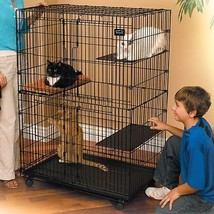 Large Cat Cage Pet Metal Enclosure Folding Crate Portable Playpen Kitty ... - $139.58