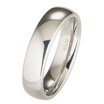 6MM White Tungsten Wedding Band, Ring Dome Comfort Fit Sizes 8 to 15 - $29.95