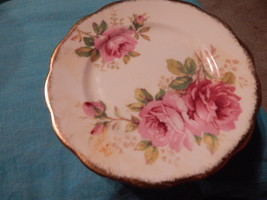 American Beauty Side Plate England Bone China Pink Roses Free Ship Royal... - $25.99