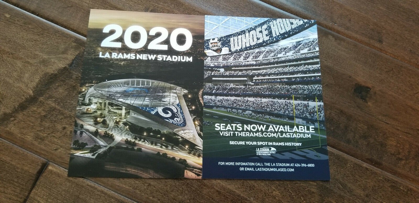 Primary image for 2019 LOS ANGELES RAMS NEW STADIUM IN 2020 PROMOTIONAL PROMO CARD LA COLISEUM SGA