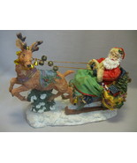 Statue Figurine Santa On His Sleigh Glitter Des... - $12.95