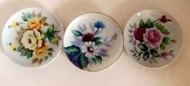 """Vintage Miniature Hand Painted Floral Design 4"""" Plates // Decorative Plates - $13.04"""