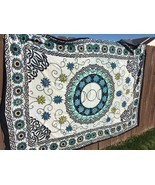Floral Charmed Triple Moon Tapestry in White Tie-Dye with Blue and Yellow - £13.93 GBP