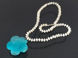 Vintage Jewelry White & Blue Shell Bead Necklace Pendant 17'' Length - $15.00