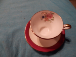 Aynsley cup and saucer Brown / Red Fluted Style England bone China free ... - $24.99