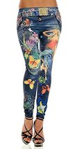 Blue faux denim with butterly tattoo art leggings size medium [Apparel] - $17.97