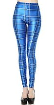 Tartan blue plaid leggings size medium tall [Apparel] - $22.99