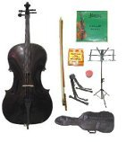 Lucky Gifts 3/4 Size Cello,Bag,Bow+Rosin+Extra Strings+Tuner+2 Stands ~ Black