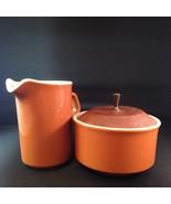 Vintage Mid Century Modern Cream Sugar Set Orange Wood Lid Metal Handle ... - $33.85