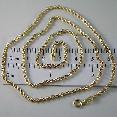 18K YELLOW GOLD CHAIN NECKLACE, BRAID ROPE LINK 17.72 INCHES, MADE IN ITALY