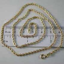 18K YELLOW GOLD CHAIN NECKLACE, BRAID ROPE LINK 17.72 INCHES, MADE IN ITALY image 1