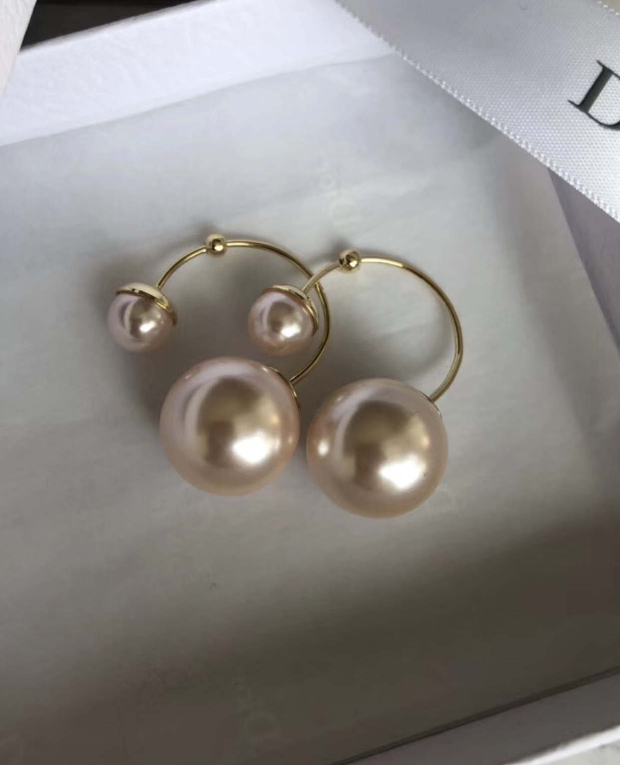 Authentic Christian Dior Mise En Dior Tribal Pink Double Pearl Earrings