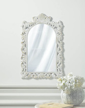 Arched Wall Mirror Distressed White Swirls &  Flourishes Frame Vintage Style  - $50.95