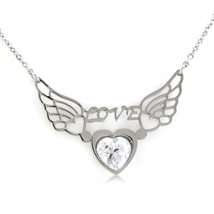 Women's!! Special Stainless Steel Round White CZ Wings in Heart Necklace... - $15.83