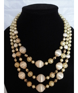 1960's Graduated 3 Strand Ivory And Gold Sugar Coated Bead Necklace Japan - $39.99