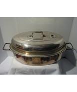 VINTAGE MIRRO ALUMINUM VENTED ROASTING PAN FOLDING HANDLES ALL THE PERKS - $19.95