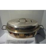 VINTAGE MIRRO ALUMINUM VENTED ROASTING PAN FOLD... - $19.95