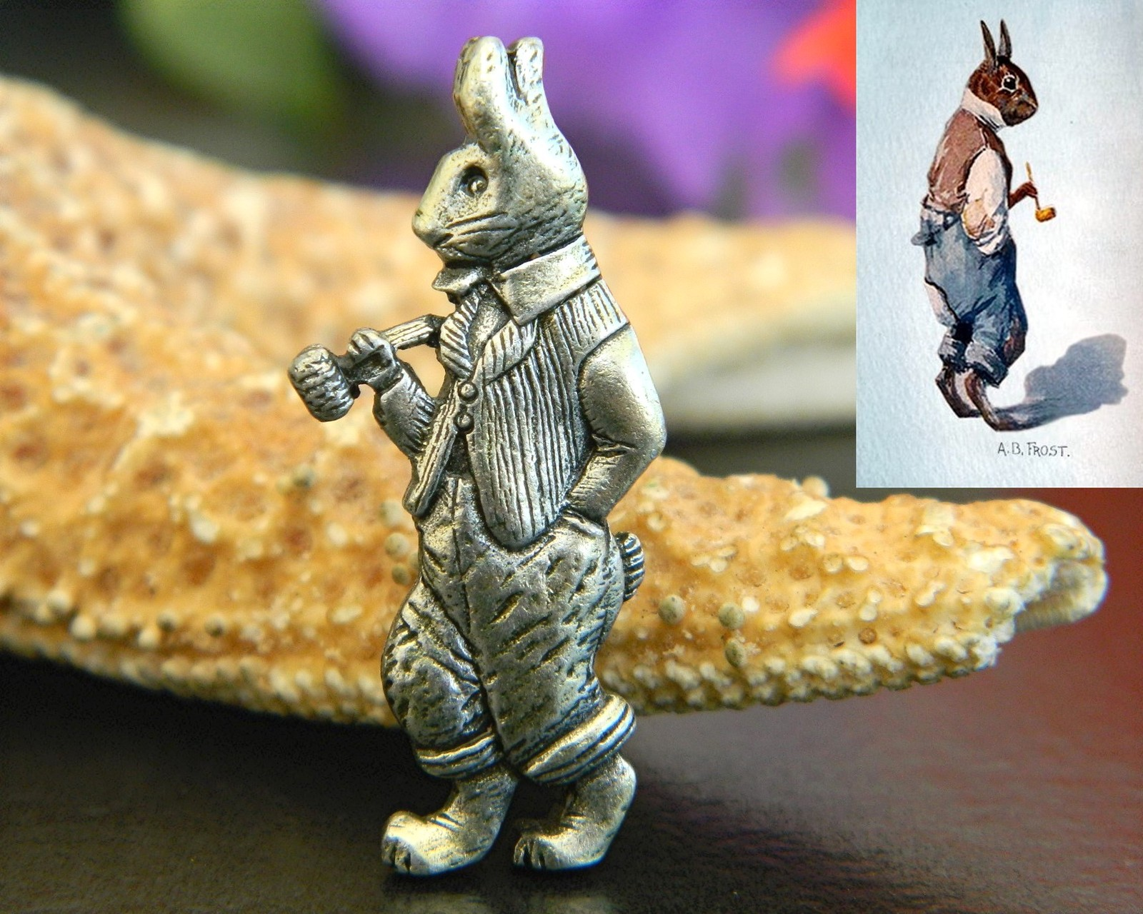 Vintage brer rabbit uncle remus brooch pin a.b. frost illustration rare
