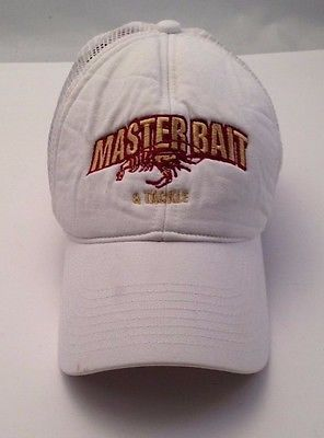 Master Bait & Tackle White Cap Hat Vintage Trucker One Size Snap Back