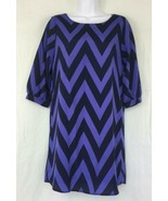 Needle & Thread USA 3/4 Sleeve Lined Silky Poly Violet Black Chevron Dre... - $22.10
