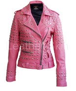 Leather Skin Women Pink Spike Studded Studs Brando Belted Genuine Leathe... - $219.00