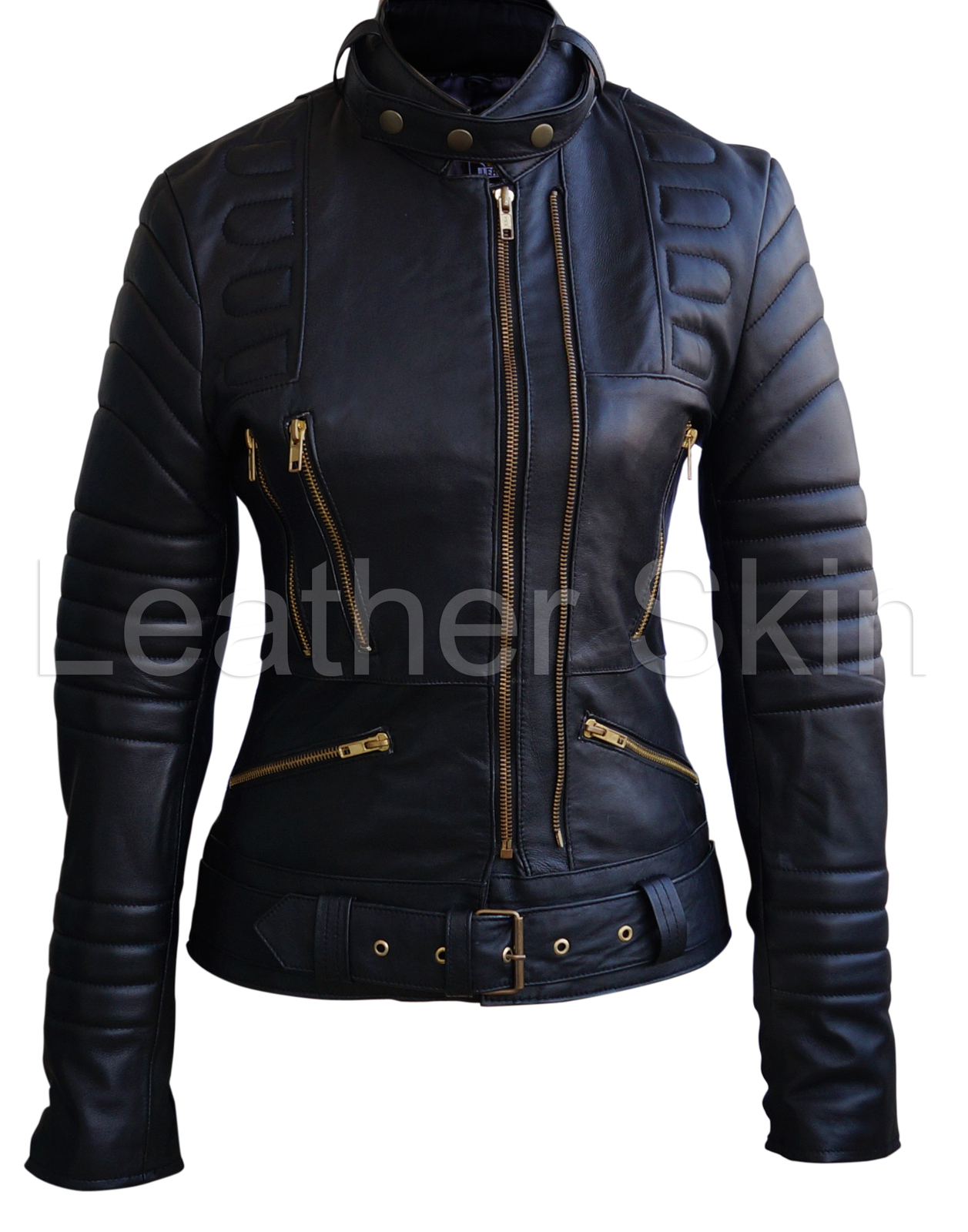 leather skin women black brando padded and 50 similar items. Black Bedroom Furniture Sets. Home Design Ideas