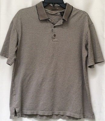 Men s axist polo shirt slim fit size m brown ss euc 100 cotton