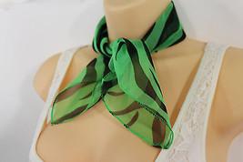 Women Fashion Green Neck Scarf Fabric Black Zebra Animal Print Pocket Square - $9.79