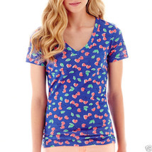 Arizona Short-Sleeve Print V-Neck Tee Size XS Hearts New With Tags - $4.99