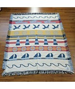 Vintage Crown Crafts Woven Throw Blanket USA Made Nautical Beach Sail Bo... - $98.95