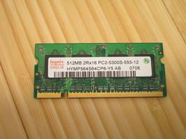 HYNIX RAM MEMORY DDR2 512Mb 2RX16 PC2-5300S-555-12 HYMP564S64CP6-Y5 AB - $5.89