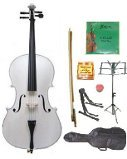 Lucky Gifts 3/4 Size Cello,Bag,Bow+Rosin+Extra Strings+Tuner+2 Stands ~ White