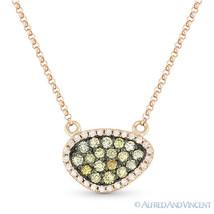 0.37ct Fancy-Color Diamond Pave Pendant & Rolo Necklace in 14k Rose & Black Gold - $595.99
