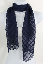 Women Fashion Long Blue Neck Scarf Soft Fabric Tie Wrap Geometric Mosaic... - $13.57 CAD