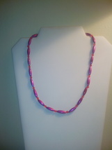 Handmade Pink & Red Beaded Necklace - $7.50