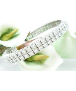 Sterling Silver Double Row Tennis Cuff Bracelet Simulated Diamonds Avera... - $135.00
