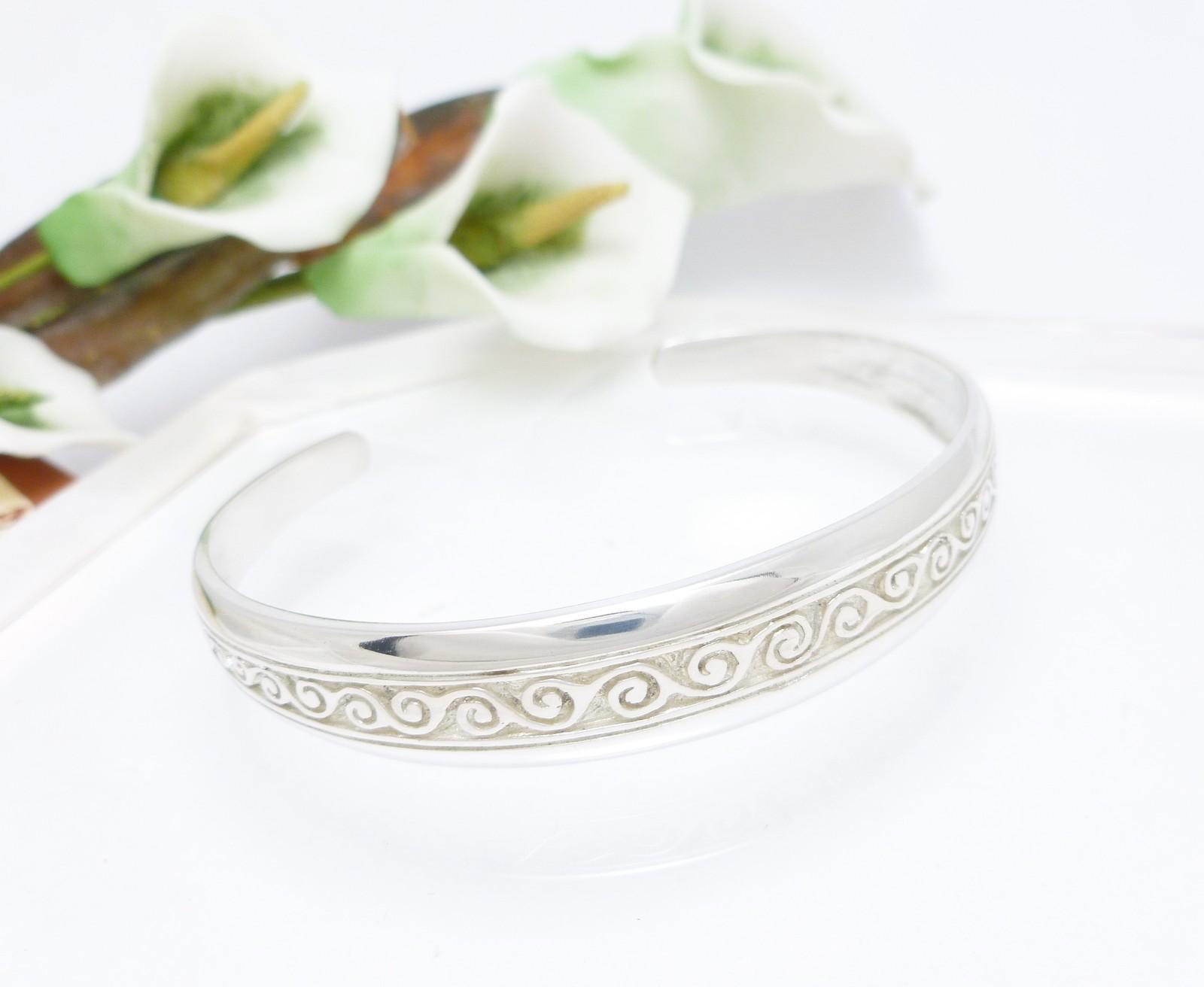 Sterling Silver Newgrange Swirl Cuff Bracelet Average Size Wrist