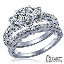 Vintage Design Round Diamond Bridal Matching Bands Set 14k White Gold 2.27 Carat - $4,691.61