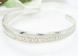 Sterling Silver Newgrange Swirl Cuff Bracelet Average Size Wrist - $74.00