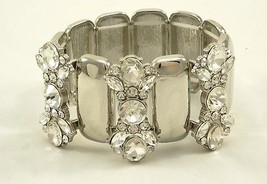 Luxurious New Crystal Silver Tone High Polished Stretch Bracelet by JTV ... - $9.49