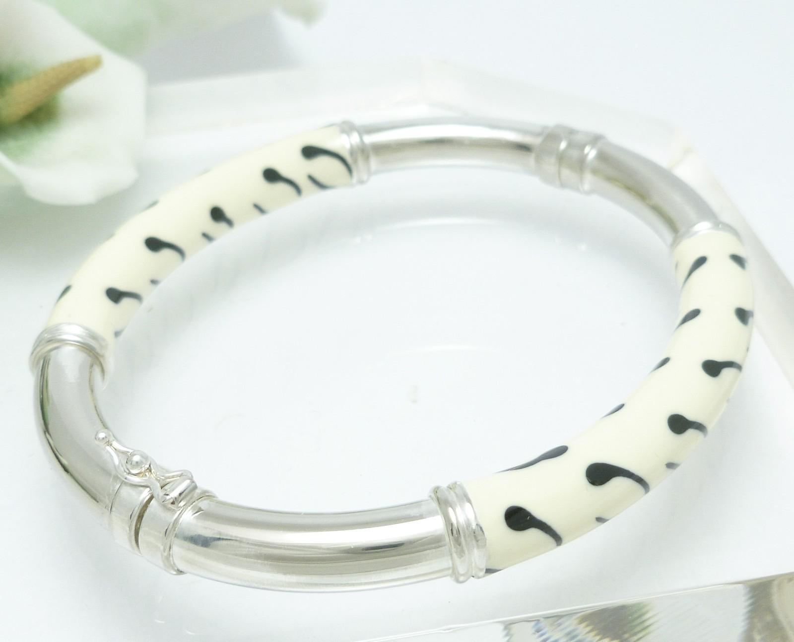 Sterling Enamel Zebra Print Bangle Bracelet Average Wrist Size 7 inch