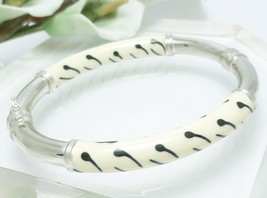 Sterling Enamel Zebra Print Bangle Bracelet Average Wrist Size 7 inch - $57.00