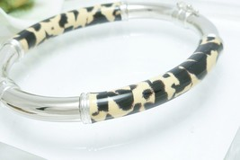 Sterling Enamel Animal Print Hinged Bangle Bracelet Average Wrist Size 7... - $57.00