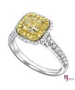 1.67ct Radiant Natural Yellow Halo Diamond Engagement Ring 18k Multi-Ton... - $2,969.99